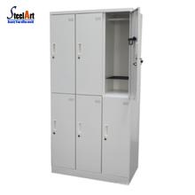 High quality school furniture steel 6 door locker with shelf