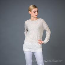 Camisola de Mistura de Cashmere para Senhora Fashion
