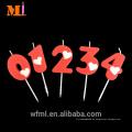 Vela numérica roja clara pura del cumpleaños de la moda de la cera de parafina del proveedor 100% con el corazón blanco