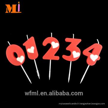 Fournisseur bien connu 100% cire de paraffine pur rouge Numeric mode anniversaire bougie avec coeur blanc