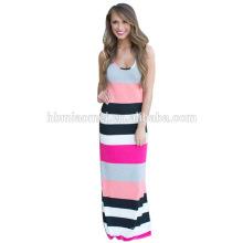2016 China fábrica de ropa de alta calidad directo Pink rayas mujer vestido de la mujer fabricante / vestidos de lujo para las mujeres