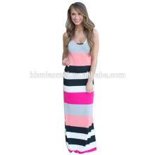 2016 Chine haute couture vêtements usine directe Rose rayures femme robe fabricant / fantaisie robes pour femmes