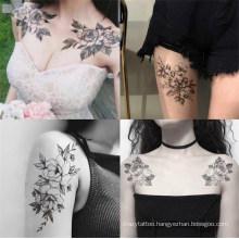 Eco-Friendly Gorgeous Women Sexy Body Art Black White Flower Arm Leg Tattoo Sticker