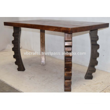 Steam punk Metal Leg Recycled Wood Dining Table for Pub