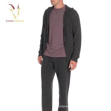 Casaco de malha de lã tricotado masculino com zíper