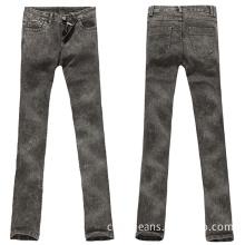 Yong Ladies Snow Washing Skinny Leg Jeans with Stretch (MV13IJJEAGREY)