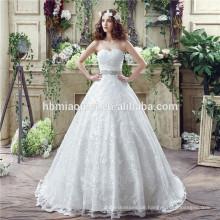 Romantische durchschauen Spaghetti-Gurte Birde Kleid Hand Perlen Backless Hochzeitskleid Türkei geschnürt
