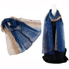 Bufanda de cabeza de seda de emboidery de color de dos tonos con lentejuelas