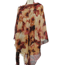 50% cashmere 50% silk worsted printed shawl