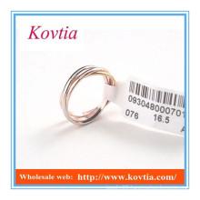 Fashion design twisty tri color tri Ring for women