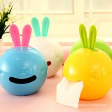 Estilo coreano conejo lindo diseño caja de tejido de plástico (zjh033)