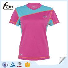 Großhandelsfrauen Breathable V-Ansatz Sport-T-Shirt Soprt Abnutzung