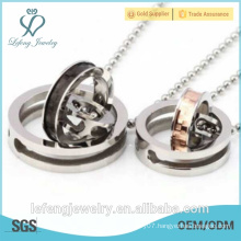 New fashion personalized jewelry for couples 316L stainless steel silver personalized couple necklaces