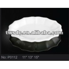 Durable plain white ceramic cake plate / fruit plate/ dessert plate (No.P0112)