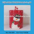 Fashionable christmas ornaments ceramic storage jar with snowman pattern
