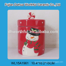 Fashionable christmas ornaments ceramic storage jar with snowman pattern