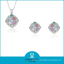 Conjunto de jóias de prata oval colorido para senhoras (J-0170)
