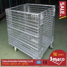 Stainless steel galvanized collapsible stackable wire mesh box with wooden pallet for storage