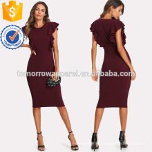 Rüschen Trim Pencil Dress Herstellung Großhandel Mode Frauen Bekleidung (TA3158D)
