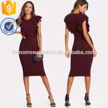 Ruffle Trim Pencil Dress Fabricação Atacado Moda Feminina Vestuário (TA3158D)