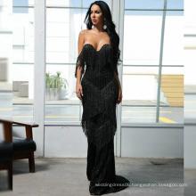 Fringe Bardot Sequin Floor Length Sexy Elegant Tassel Dress Evening Gown