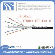 Cable negro del alambre del cable del LAN 4pairs Cat6 del al aire libre 1000FT