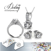 Destino joyería cristal de Swarovski Eva Set pendientes y colgante anillo