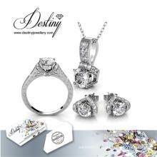 Судьба ювелирные изделия кристалл из Swarovski Ева комплект кольцо кулон и серьги