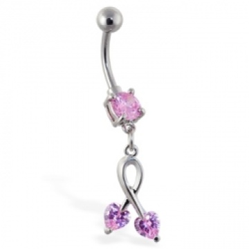 Belly Ring with Dangling Pink Hearts On Dangle