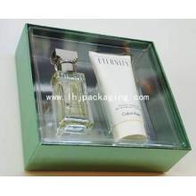 Caja de papel de embalaje de perfume de alta calidad con ventana de plástico y cubierta de PVC / mascotas