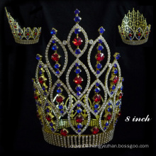 High Qulity Zhanggong crystal fancy hair accessories boys full round crown