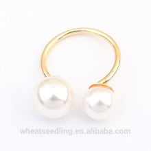 Anel de casamento banhado a ouro pura simples da forma da pérola