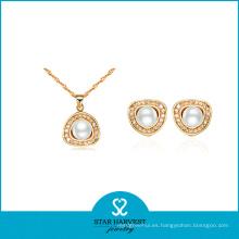 Juego de joyas de plata chapado en oro de la boda (J-0064)