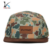 Remendo de couro em branco personalizado logotipo digital impresso camo 5 painel chapéus no mínimo