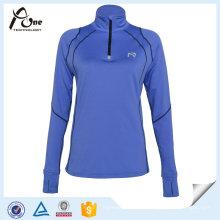 Camisas rápidas do exercício do poliéster do ajuste das mulheres feitas sob encomenda do desgaste da aptidão