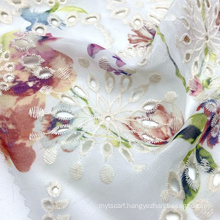 Light weight 100% polyester woven floral print chiffon embroidery fabric for women blouses