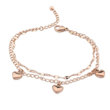 Best Gifts Women Stainless Steel Double Layers Heart Charm Lin Chain Bracelets Party Jewelry