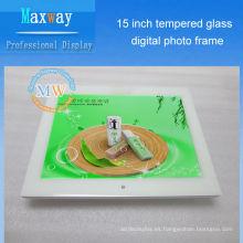 Marco de fotos digital de vidrio templado frontal a prueba de rayaduras 15