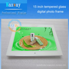 Scratch-proof front tempered glass digital photo frame 15