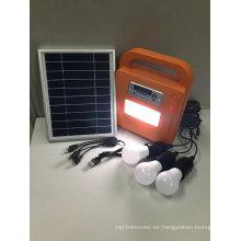 Kits de iluminación Solar Home LED con reproductor de FM Radio SD MP3
