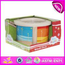 Instrumento de música de dibujos animados juguetes de tambor musical para niños, juguete de tambor de juguete de madera para niños, juguete de tambor de madera lindo para bebé W07j024