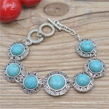 Vintage Alloy Floral Round Natural Stone Gemstone Bracelet