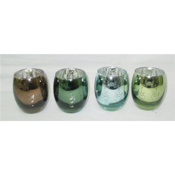 Electroplating Laser Engraving Glass Candle Holder/Candlestick Holder