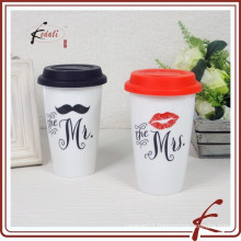mr. and mrs popular sell ceramic double wall mug