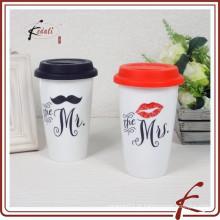 Sr. E mrs popular vender caneca de parede de cerâmica dupla