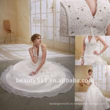 Astergarden Moda Halter piso de longitud de cuentas de pelota vestido de novia blanco DressAS016