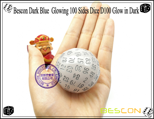 Bescon Dark Blue Glowing 100 Sides Dice D100 Glow in Dark-6