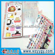 2013 fancy plastic printing cat sticker with cover for kids