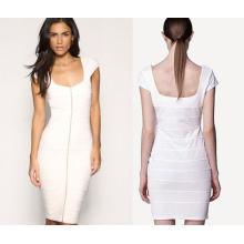 Collarless Bandage Dress with Sleeveless Dress