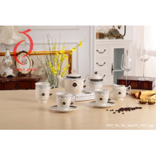 Porcelain Wholesale 8PCS Coffee Tea Set Design Rose of Teapot Cup Tray